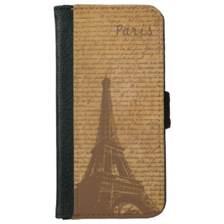Vintage Old Scripts Paris Eiffel Tower iPhone 6 Wallet Case