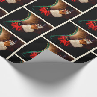 Vintage Old St Nick Painting Wrapping Paper