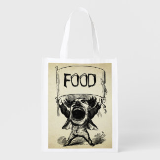 Vintage Old Time Big Mouth Man With Custom Sign Reusable Grocery Bag