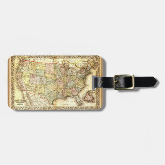 Vintage Old United States USA General Map Luggage Tag