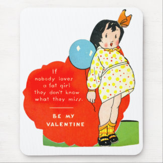 Vintage Old Valentine Chubby Little Girl Mouse Pad