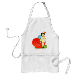 Vintage Old Valentine Chubby Little Girl Standard Apron