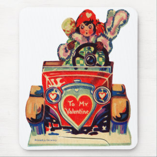 Vintage Old Valentine Little Girl in Automobile Mouse Pad