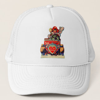 Vintage Old Valentine Little Girl in Automobile Trucker Hat