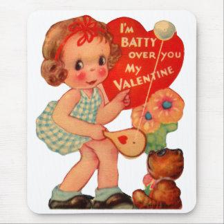 Vintage Old Valentine Little Girl Mouse Pad