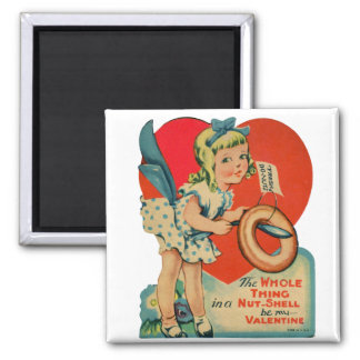 Vintage Old Valentine Little Girl with Doughnut Magnet