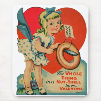 Vintage Old Valentine Little Girl with Doughnut Mouse Pad