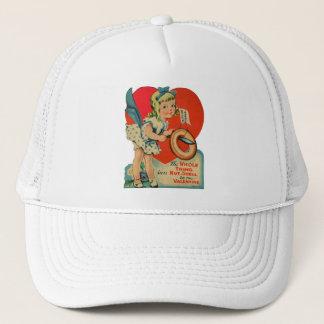 Vintage Old Valentine Little Girl with Doughnut Trucker Hat