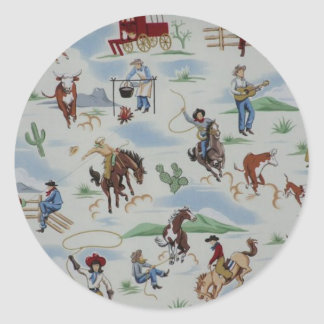 Vintage Old West Cowboys Horses Fun Stickers