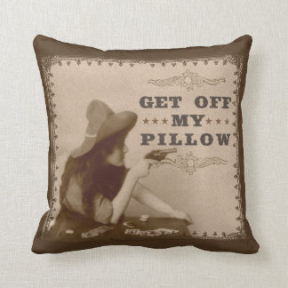 Vintage Old West Girl with Gun Get Off Funny Cushion