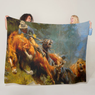Vintage Old West Grizzly Mountain Painting Fleece Blanket