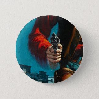 Vintage Old West Gunslinger Cowboy 6 Cm Round Badge