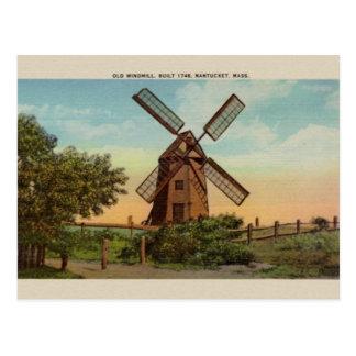 Vintage Old Windmill Nantucket Post Card
