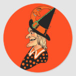 Vintage Old Witch with a Moon Round Stickers