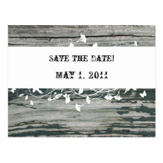 Vintage Old Wood Save the Date Postcard