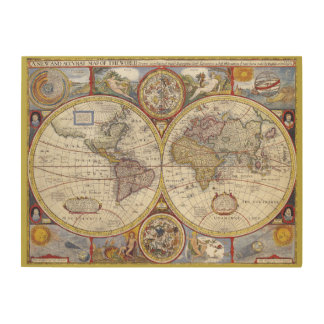 Vintage old world and Antique maps Wood Canvas