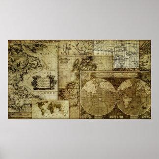 Vintage old world Antique Maps Poster