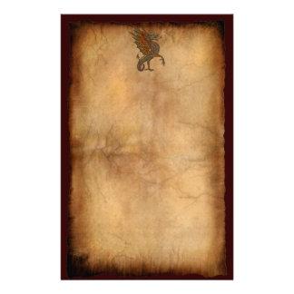 Vintage Old World Dragon on Parchment effect Stationery Design