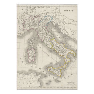 Vintage old world Italy map Italian foodie Poster