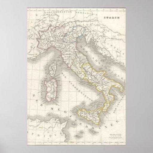 Vintage old world Italy map Italian foodie Print