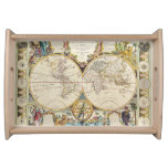 Vintage Old World Map 4 History-lover Design Service Tray