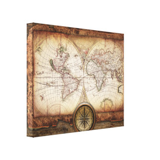 Vintage Old World Map and Compass Rose Stretched Canvas Print