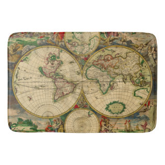 Vintage old world Map Bath Mats