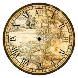 World map wall clocks zazzle vintage old world map clock gumiabroncs Gallery