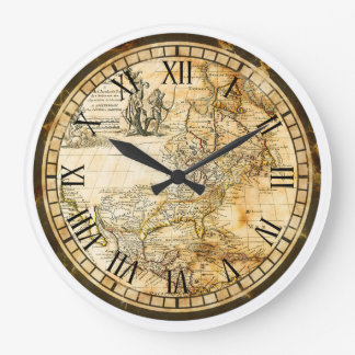 Vintage Old World Map Clock