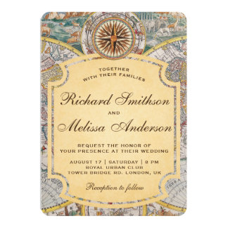 Vintage Old World Map Compass Wedding Invitation