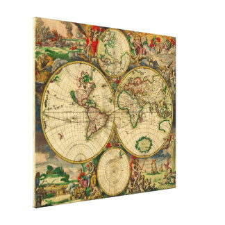 Vintage Old World Map Gallery Wrapped Canvas
