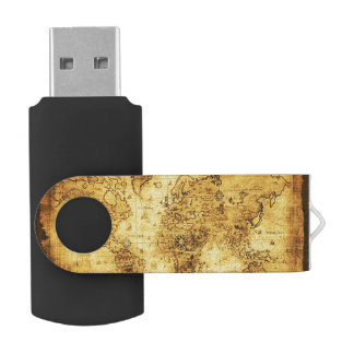 Vintage Old World Map History-lover's Gift Swivel USB 2.0 Flash Drive