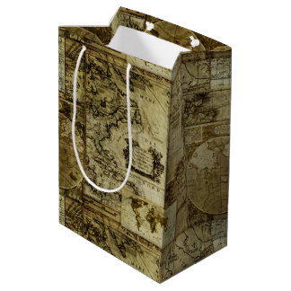 Vintage old world Map Medium Gift Bag