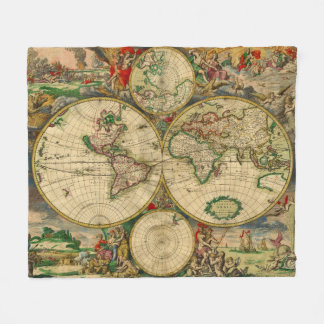 Vintage old world Maps Antique maps Fleece Blanket