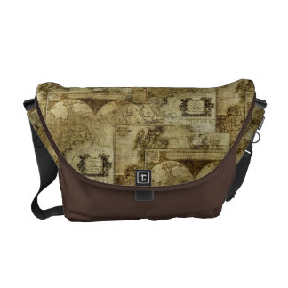 Vintage old world Maps Antique maps Pattern Courier Bags