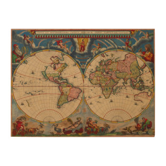 Vintage old world Maps Antique maps Wood Print