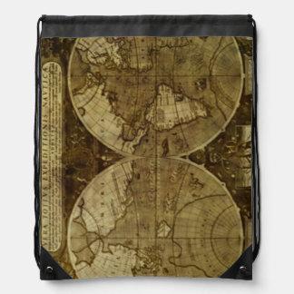 Vintage old world Maps Drawstring Bags
