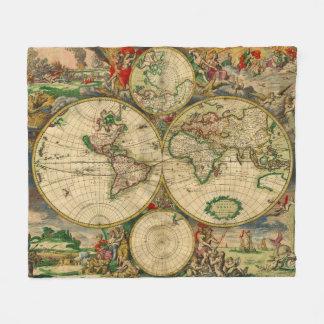Vintage Old World Maps Fleece Blanket