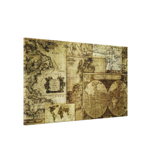 Vintage old world Maps Gallery Wrapped Canvas