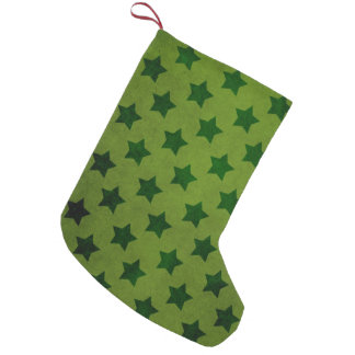 Vintage Olive Green Stars Pattern Small Christmas Stocking