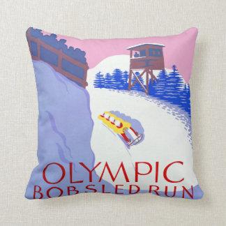 Vintage Olympic Bobsled Run Lake Placid Cushion