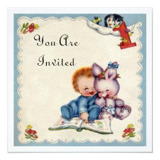 Vintage One Year Old Birthday Boy Invitation