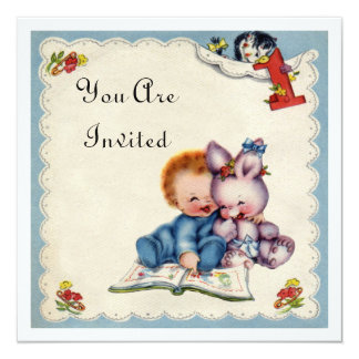 Vintage One Year Old Birthday Boy Invitation