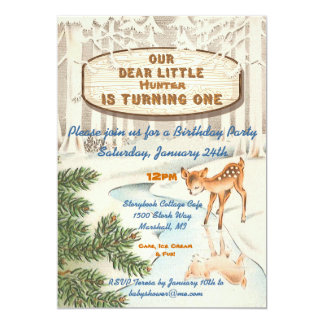 Vintage One Year Old Winter woodland Deer Invites