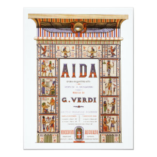 Vintage Opera Music, Egyptian Aida by Verdi 11 Cm X 14 Cm Invitation Card