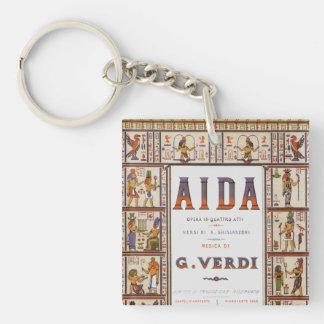 Vintage Opera Music, Egyptian Aida by Verdi Double-Sided Square Acrylic Key Ring
