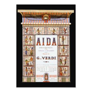 Vintage Opera Music, Egyptian Aida by Verdi 13 Cm X 18 Cm Invitation Card