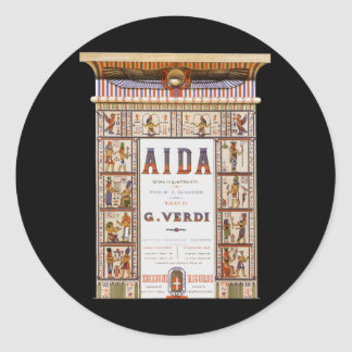 Vintage Opera Music, Egyptian Aida by Verdi Round Sticker