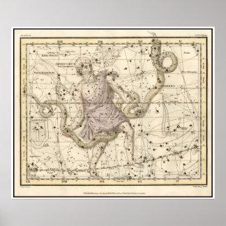 Vintage Ophiuchus Constellation Zodiac Print