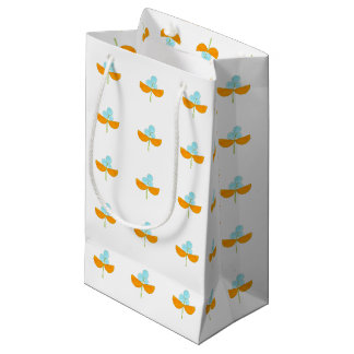 Vintage orange and sky blue flowers small gift bag